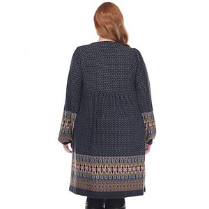 Plus Size White Mark Embroidered Sweater Dress