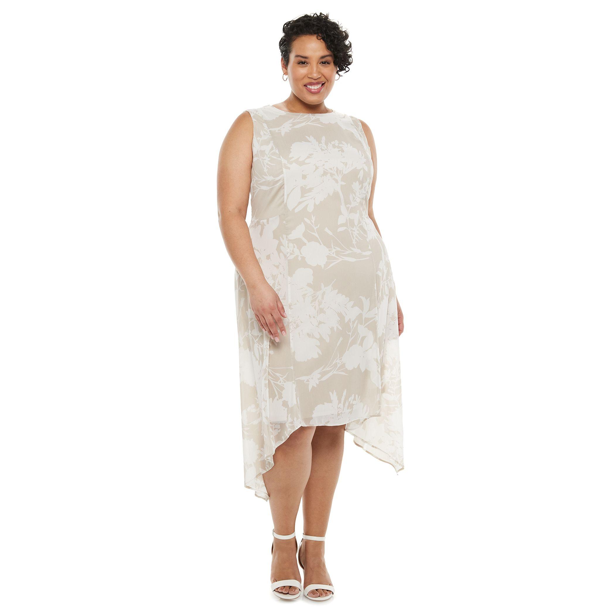 Plus Size Chaps Print Shark-Bite Hem Chiffon Dress