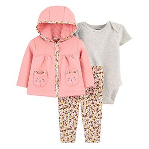 Baby Girl Carter's 3-Piece Quilted Little Cardigan, Bodysuit & Pants Set