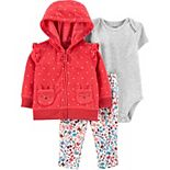 Baby Girl Carter's 3-Piece Fleece Owl Little Jacket, Bodysuit & Pants Set