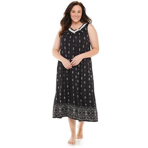 Plus Size Croft & Barrow® Lace-Trim Long Nightgown