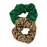 Sequin & Pleated Green St. Patrick's Day Scrunchie Set