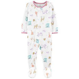 Baby Girl Carter's Animals 1-Piece Loose Fit Footie Pajamas