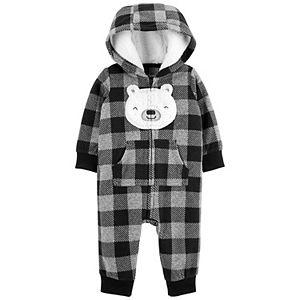 Baby Boy Carter's Buffalo Check Bear Fleece Jumpsuit Coverall