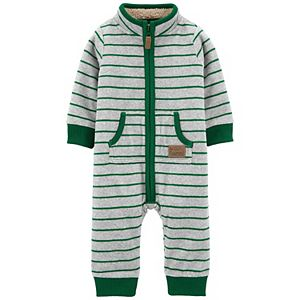 Baby Boy Carter's Striped Fleece Jumpsuit Coverall
