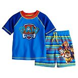 Toddler Boy Paw Patrol Rash Guard Top & Swim Trunks Set