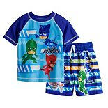 Toddler Boy PJ Masks Rash Guard Top & Swim Trunks Set