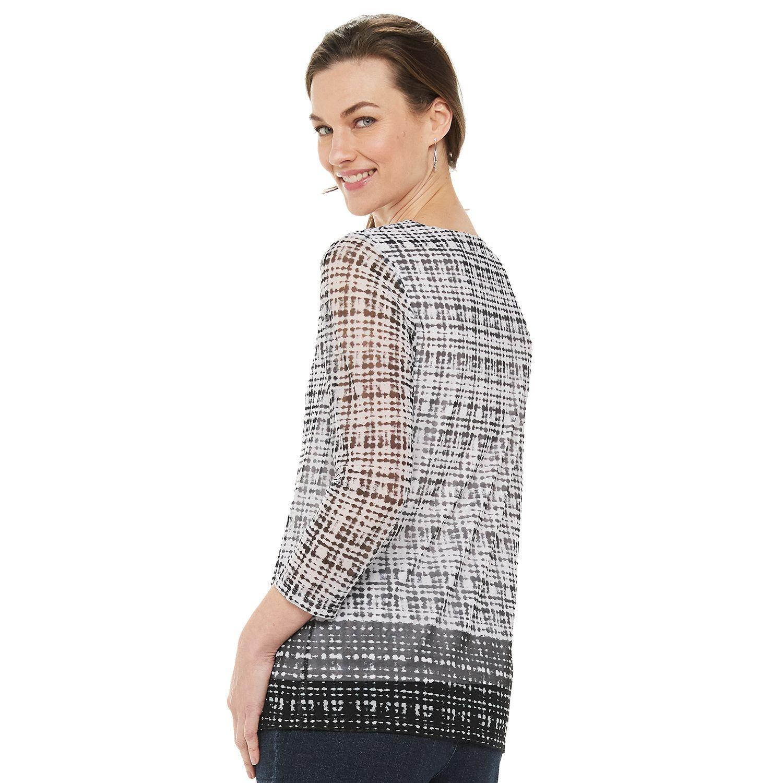 Women's Croft & Barrow® Print Mesh Top