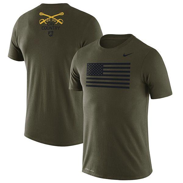 creencia Inocente Retener  Men's Nike Green Army Black Knights 1st Cavalry Division American Flag  Legend T-Shirt
