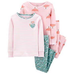 Baby Girl Carter's 4 Piece Fox & Floral Pajama Set