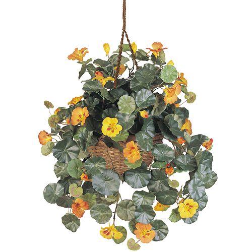 nearly natural SilkNasturtium Hanging Plant Basket