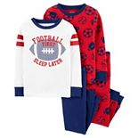 Toddler Boy Carter's 4-Piece Football Snug Fit Cotton Pajamas Set