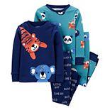 Toddler Boys Carter's 4-Piece Animals Snug Fit Cotton Pajamas