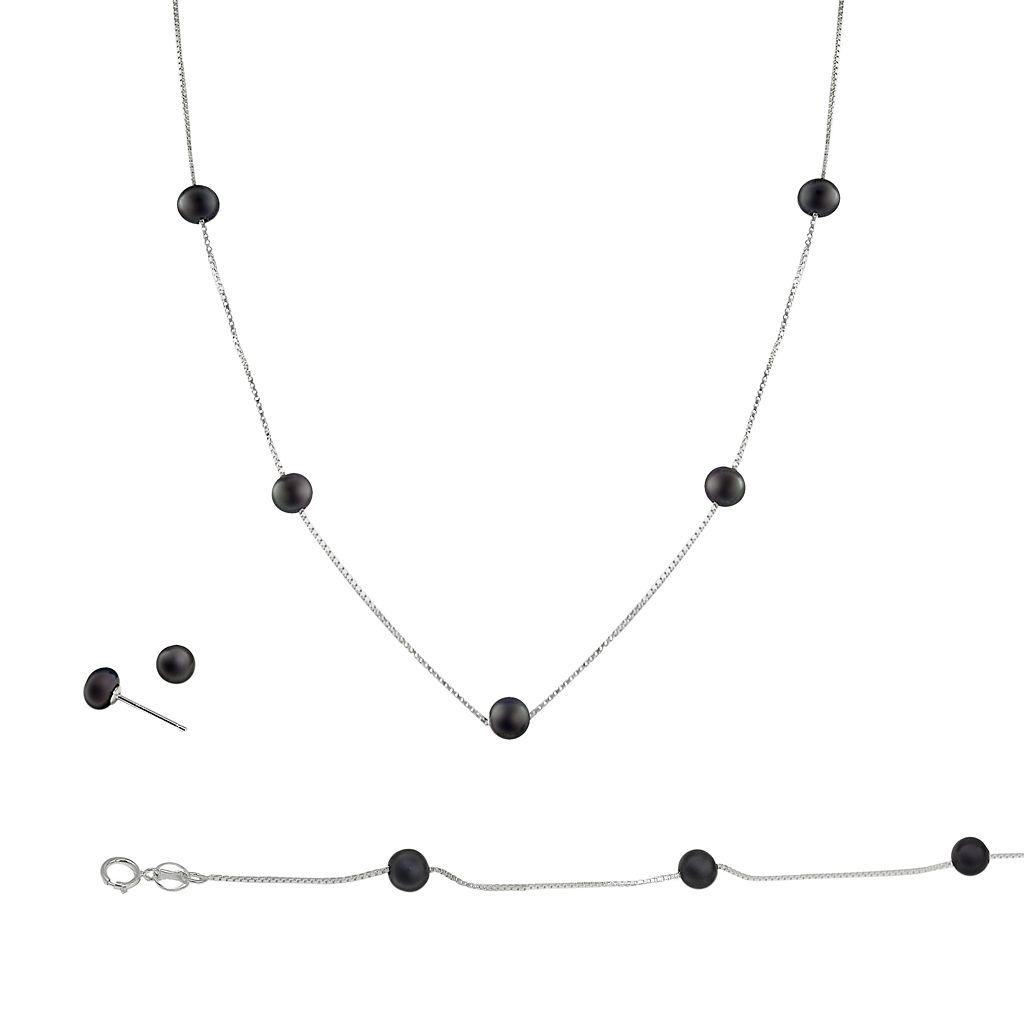 Sterling Silver Black Freshwater Cultured Pearl Necklace, Bracelet & Earring Set