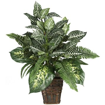 nearly natural Mixed Silk Zebra Fern Arrangement