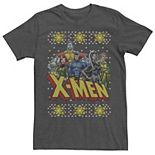 Men's Marvel X-Men Group Ugly Christmas Sweater Graphic Tee