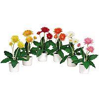 nearly natural 6 pc Silk Gerber Daisy Floral Arrangement Set