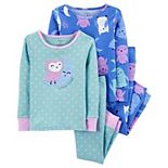 Toddler Girls Carter's 4-Piece Owl Snug Fit Cotton Pajamas