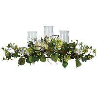 nearly natural Silk Hydrangea Triple Candelabrum Centerpiece