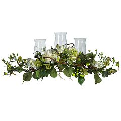 nearly natural Silk Hydrangea Triple Candelabrum Centerpiece