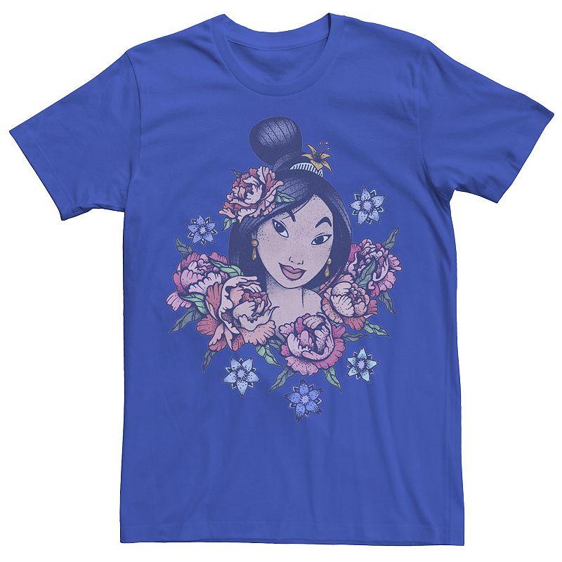 Men's Disney's Mulan Floral Portrait Vintage Tee, Size: Large, Med Blue