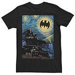 Men's DC Comics Batman The Dark Knight Starry Night Style Poster Graphic Tee