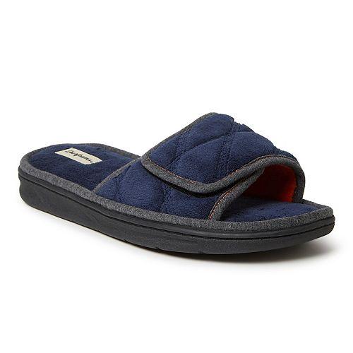 Men's Dearfoams Cooper Quilted Terry Adjustable Slide Slippers