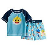 Baby Boy Baby Shark Raglan Rash Guard Top & Swim Trunks Set