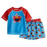 Baby Boy Sesame Street Elmo Rash Guard Top & Swim Trunks Set