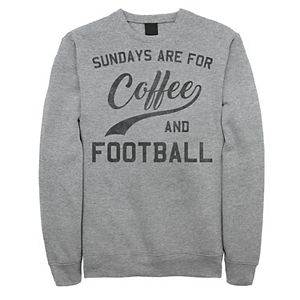 Men's Sundays Are For Coffee And Football Text Graphic Fleece Pullover