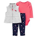 Baby Girl Carter's Quilted Little Vest, Bodysuit & Pants Set