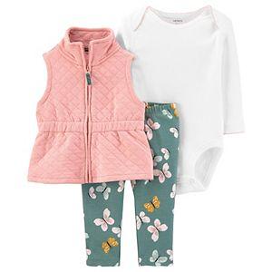 Baby Girl Carter's Little Vest, Bodysuit & Pants Set