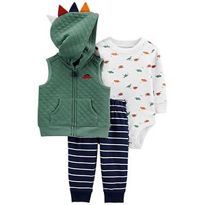 Baby Boy Carter's Dinosaur Little Vest, Bodysuit & Pants Set