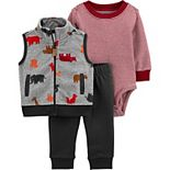 Baby Boy Carter's Animals Little Vest, Bodysuit & Pants Set