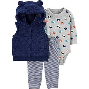Baby Neutral Carter's 3-Piece Sherpa Little Vest, Bodysuit & Pants Set