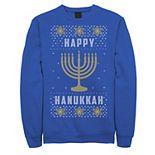 Men's Happy Hanukkah Menorah Knit Style Sweatshirt