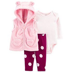Baby Girl Carter's 3-Piece Bear Little Vest Set, Bodysuit & Leggings Set
