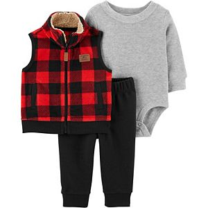 Baby Neutral Carter's 3-Piece Buffalo Check Little Vest, Bodysuit & Pants Set