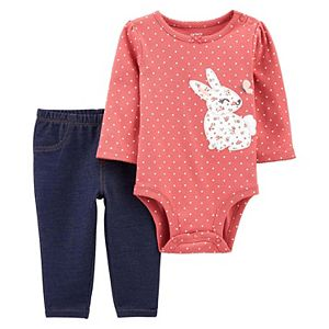 Baby Girl Carter's 2-Piece Bunny Peplum Bodysuit Pants Set