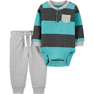 Baby Boy Carter's 2-Piece Rugby Striped Bodysuit Pants Set