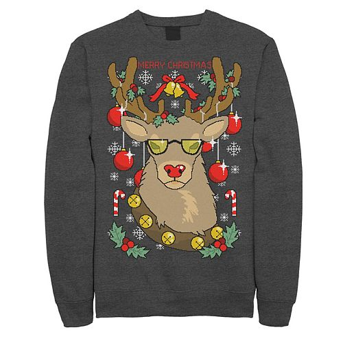 Men's Merry Christmas Reindeer Knit Style Graphic Fleece Pullover