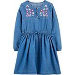 Girls 4-14 Carter's Embroidered Floral Denim Dress