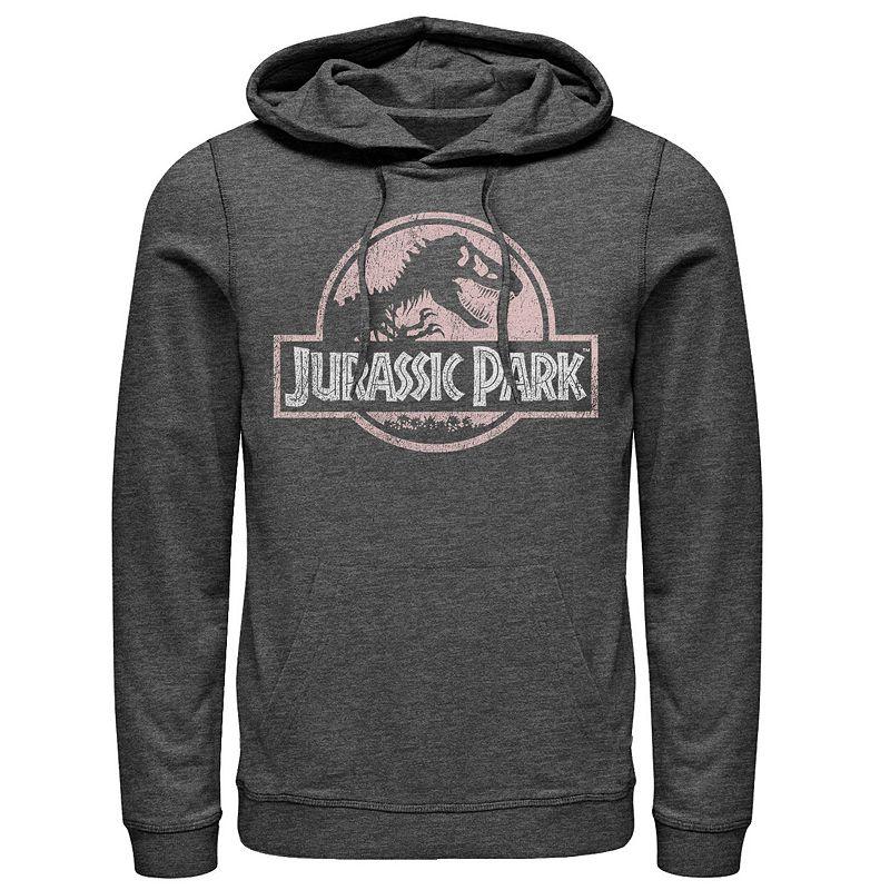 Men's Jurassic Park Peach Distressed Logo Pullover Hoodie, Size: Medium, Grey