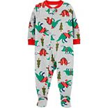Baby Carter's Christmas Dinosaur Fleece Footie Pajamas