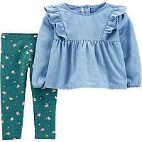 Deals on Carters Toddler Girl 2-Pc Chambray Top & Floral Legging Set