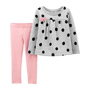 Toddler Girl Carter's 2-Piece Polka Dot Top & Legging Set