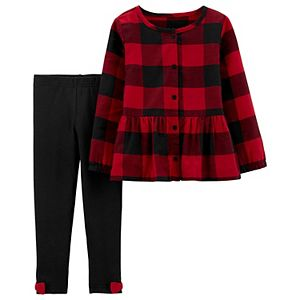 Toddler Girl Carter's 2-Piece Buffalo Plaid Top & Leggings Set