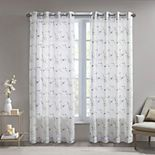 Madison Park 1-panel Abelia Floral Embroidered Sheer Window Curtain