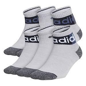 adidas Boys 3-13 Blocked Linear II 6-Pack Quarter Socks