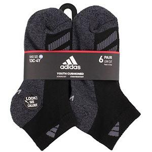 Boy's 4-20 adidas Cushioned Angle Stripe 6-Pack Low Cut Socks